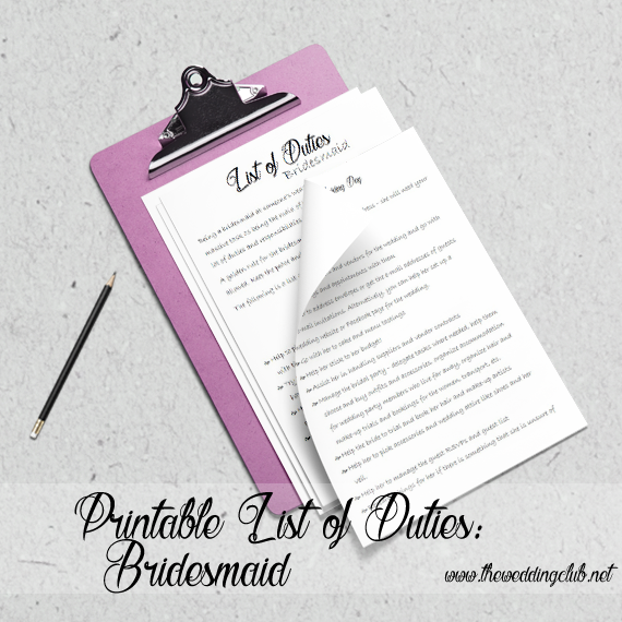 Printable List of Duties for Bridesmaid