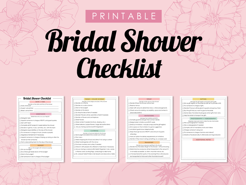Printable Bridal Shower Checklist - Plan, Manage and organize the bridal shower with this handy checklist!