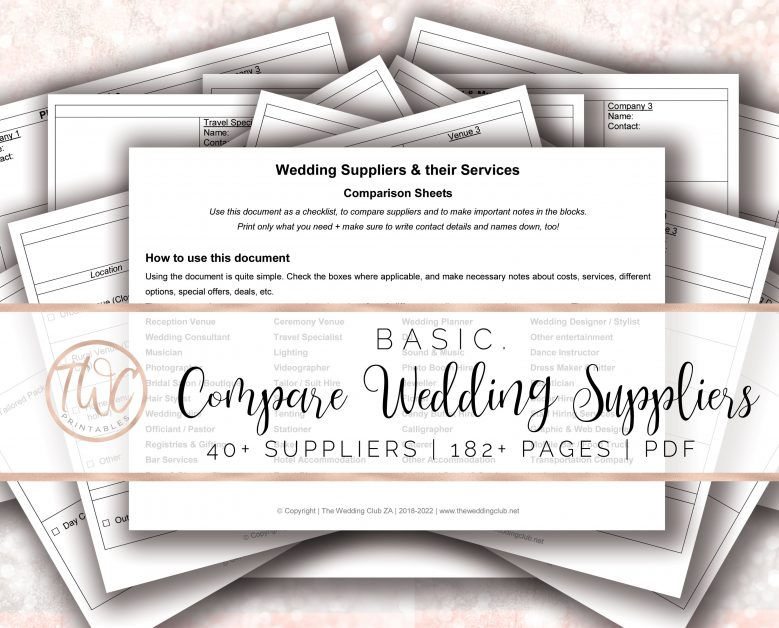 compare your wedding suppliers and vendors