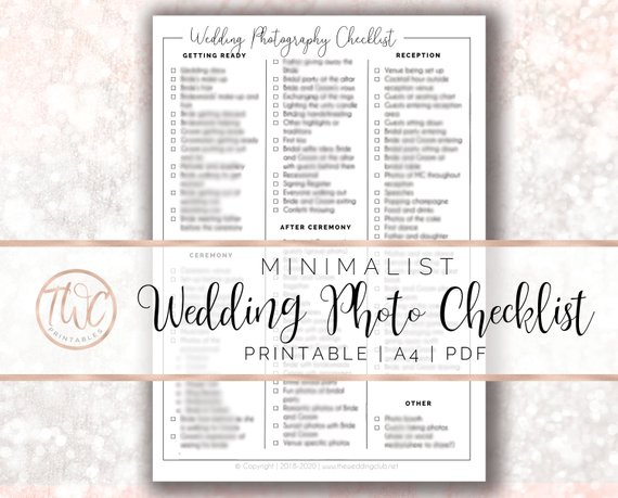 Printable wedding photo checklist