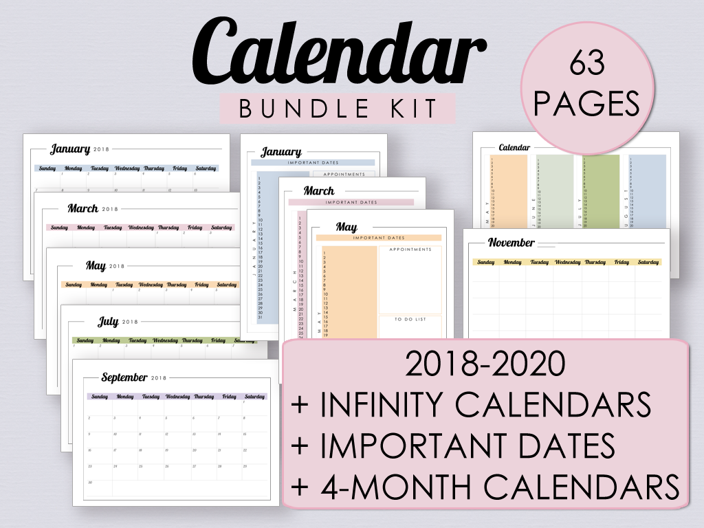 Printable Calendar Bundle Kit