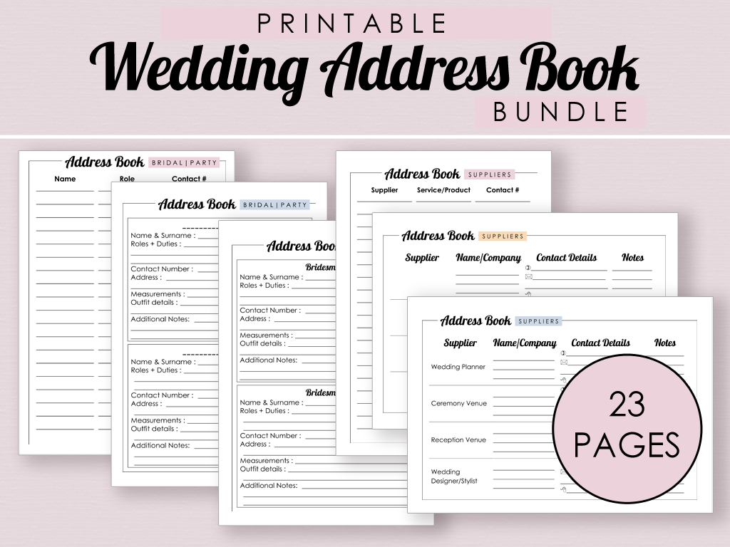 Printable Wedding Address Book Bundle