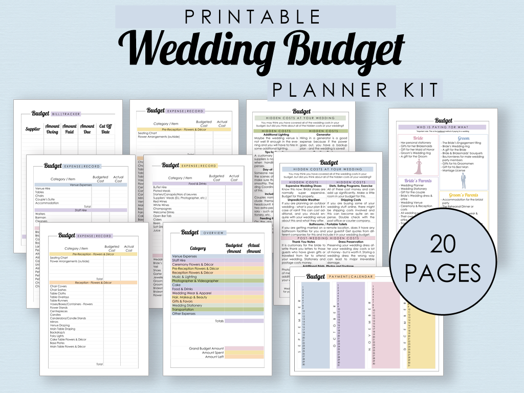 Printable Wedding Budget Planner Kit