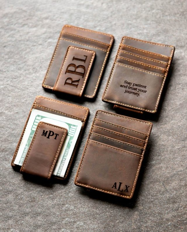 Personalized Leather Money Magnetic Clip by leftcoastoriginal