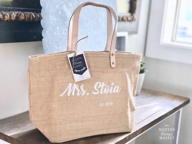 Personalized Jute Tote Bag by ModernVintageMarket