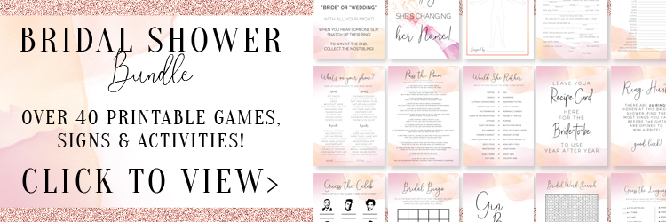 picture relating to Printable Bridal Shower Games referred to as 14 Simple and tremendous entertaining Bridal Shower Online games + Cost-free Printables