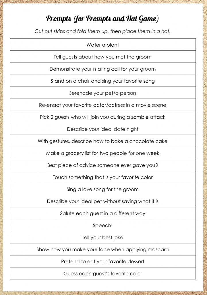 picture regarding Bridal Shower Games Free Printable called 14 Basic and tremendous enjoyable Bridal Shower Game titles + Free of charge Printables