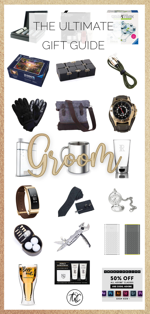 The Ultimate Gift Guide for the Groom - shop for your traditional groom's gift through this handy guide of unique gifts. It's full of leather, black and stainless steel! The gift guide you need. Groom's gift guide, gift for groom, groom gift ideas, ideas for groom, wedding gift ideas, wedding gift, gift for him #wedding #groom #giftideas