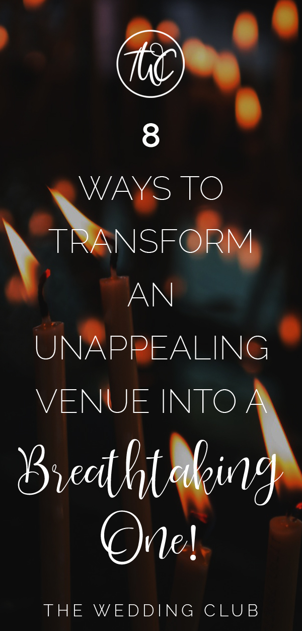 8 Ways to transform an unappealing wedding venue into a breathtaking one - turn an ugly wedding venue into a pretty wedding venue, wedding venue ideas, wedding decor ideas, wedding lighting idea, wedding ideas #weddingideas #weddinghacks