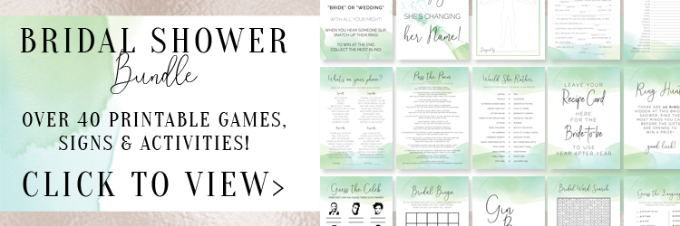 Green Bridal Shower Games Bundle - Over 40 printable games, signs and activities for your epic bridal shower! These printables are designed in gorgeous green watercolors.