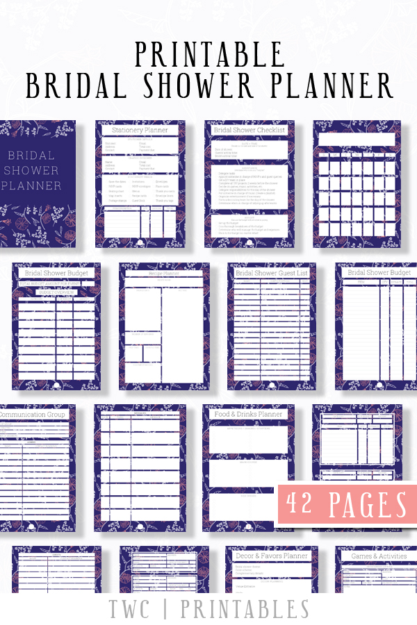 FULL Bridal Shower Planner in dark blue design - 42 printable sheets for your bridal shower binder! Plan the perfect bridal shower from A-Z with this complete printable bridal shower planner. Add it to your wedding binder, or hand it to your maid of honor and bridesmaids to help them plan ahead!