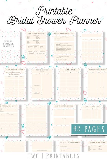 FULL Bridal Shower Planner in a cute confetti design - 42 printable sheets for your bridal shower binder! Plan the perfect bridal shower from A-Z with this complete printable bridal shower planner. Add it to your wedding binder, or hand it to your maid of honor and bridesmaids to help them plan ahead!