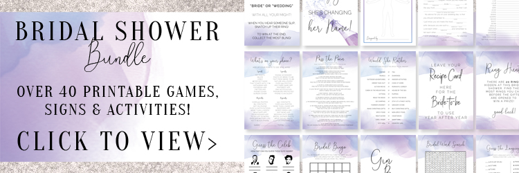 Purple Bridal Shower Games Bundle - Over 40 printable games, signs and activities for your epic bridal shower! These printables are designed in gorgeous purple and blue watercolors.