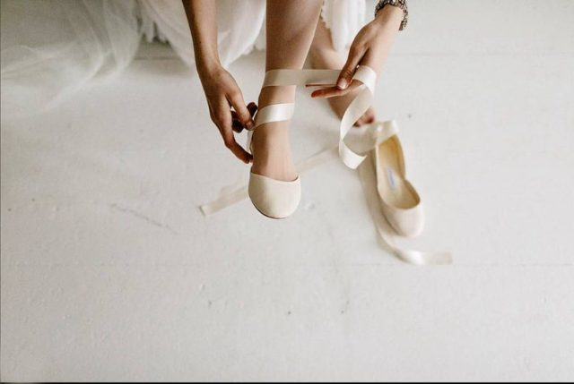 The Bridal Ballet Flats | Wedding Shoes with Satin Ribbons by thewhiteribbon