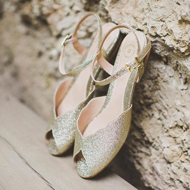 The Ahuva Sparkly Gold Vegan Bridal Flat Sandal by RoniKantorShoes