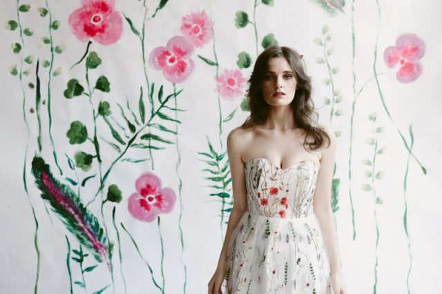 Embroidered floral wedding dress by jordanderuiter