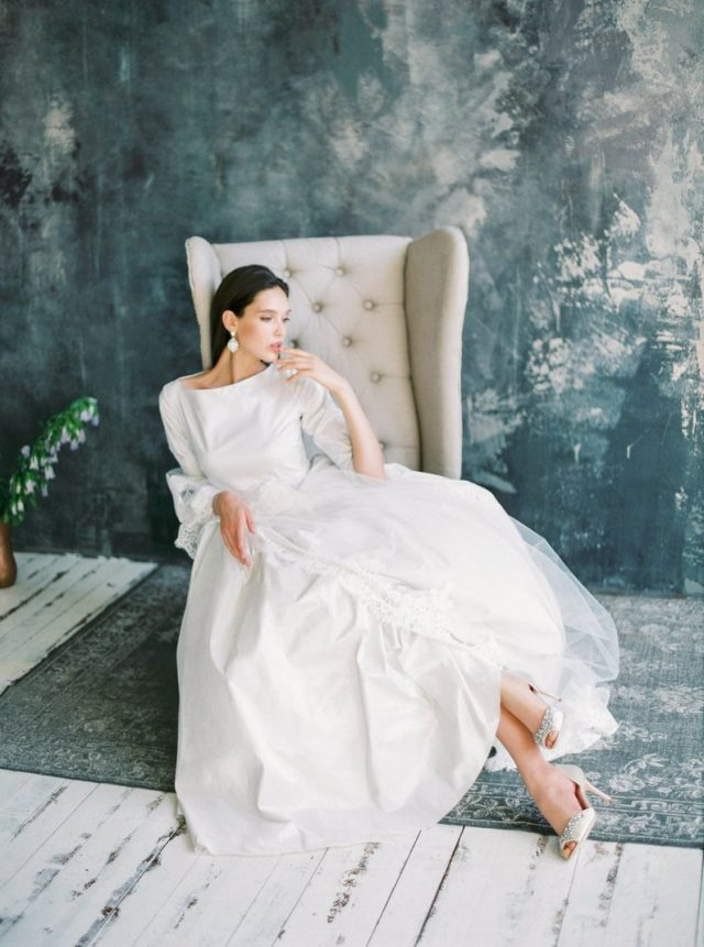 Modest classic wedding dress with long sleeves by VICTORIASPIRINA