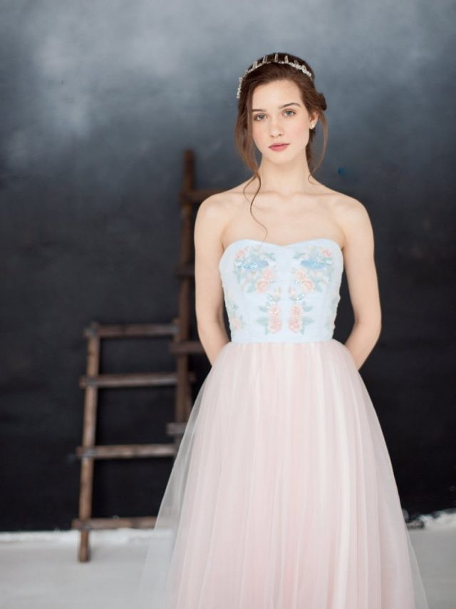 Romantic blue and pink wedding dress by MilamiraBridal