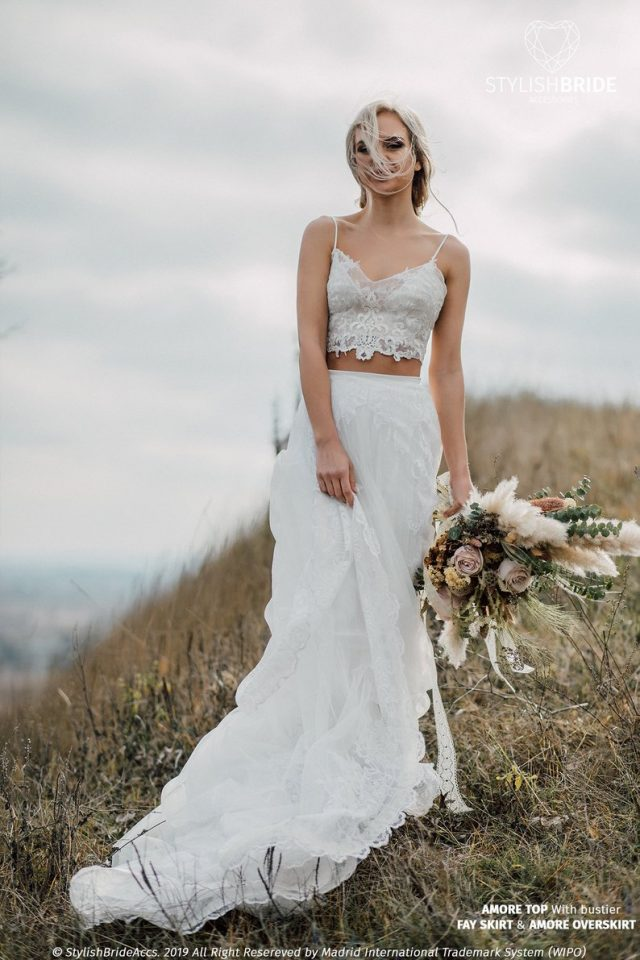 Amore Boho Wedding Dress with Lace Overskirt by StylishBrideAccs