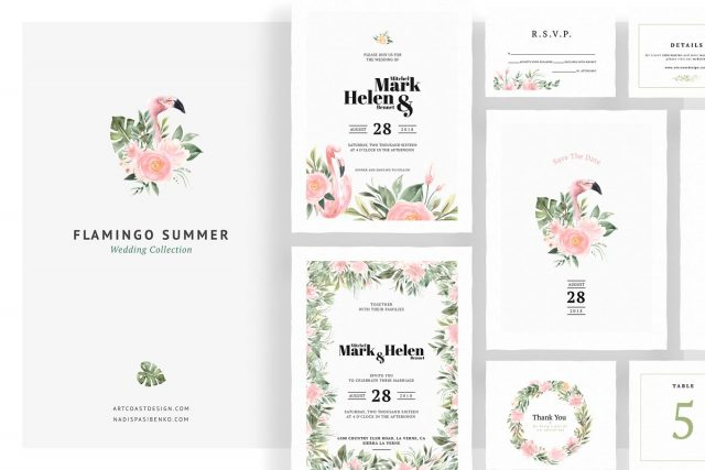Flamingo Summer Wedding Invitations by Artcoast Studio