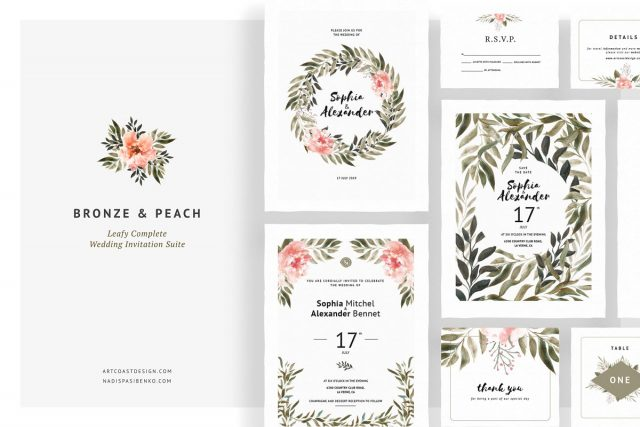 Bronze & Peach Wedding Invitations by Artcoast Studio