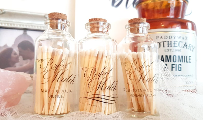 White Tip Matches in Glass Jar with Striker / The Perfect Match / Personalized Wedding Favors / Match Made in Heaven / Wedding Decor