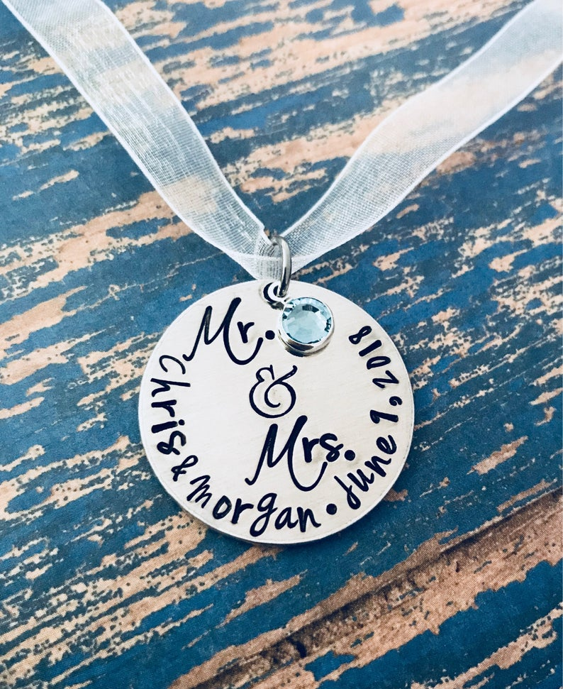 Mr & Mrs Wedding Flower Bouquet Charm - Personalized - Custom - Something Blue - Bride - Groom - Engagement - Wedding