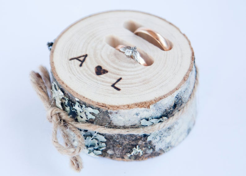 Rustic ring bearer pillow, wedding wood slice, rustic ring box, wedding decoration, wood wedding decor, ring pillow alternative,