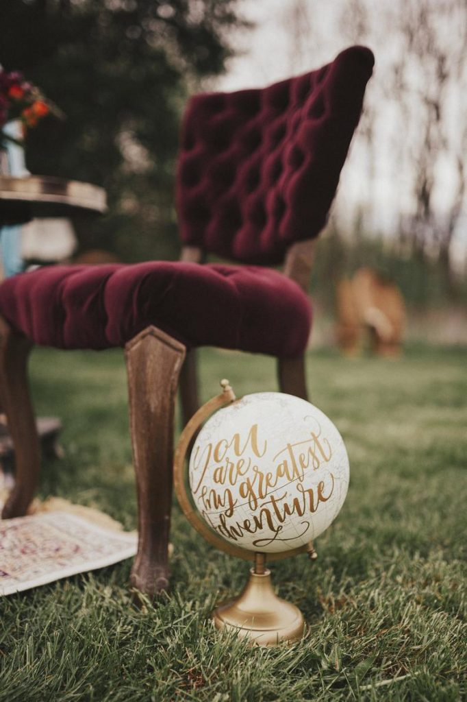 Hand Lettered Wedding Globe / Globe Guest Book / Wedding Gift / Baby Decor / You Are My Greatest Adventure Calligraphy