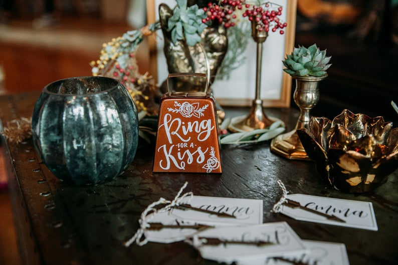 Ring for a Kiss Wedding Bell / Wedding Table Decor / Wedding Calligraphy