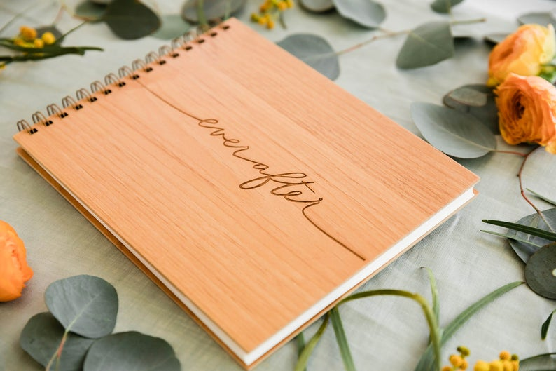 Ever After Wood Wedding Guest Book [Unique Wedding Guestbooks / Rustic / Customized and Personalized / Hardcover / Modern / Elegant]