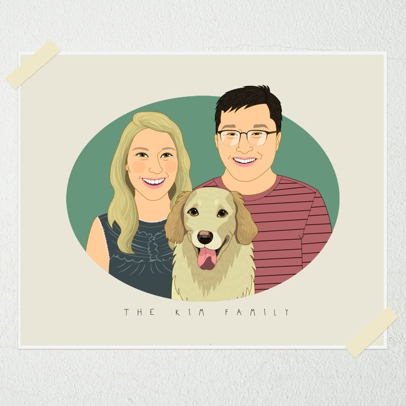 Personalized couple's portrait with pet. Custom couple illustration. Gift for couples. Wedding, anniversary gift for her/him.